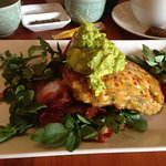 corn fritters with smashed avocado