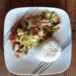 lemon grass chicken dish with rice