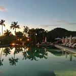 Six Senses poolside sunset