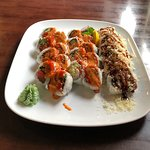 Spicy Salmon Roll, Spider Roll And Spicy Scallop Roll