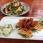 Buttermilk waffles with cured salmon