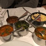 Chicken, lamb and prawn curries