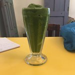Popeye smoothie: spinach, pineapple, papaya, ginger