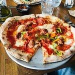 Italian sausage, prosciutto, pepper pizza