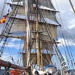 Under full sail at sea