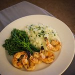 Grilled shrimp with parmesan risotto and broccolini- gluten free