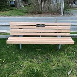 One of the dedicated memorial benches