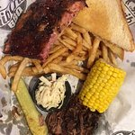Brisket,and bird (smoked chicken breast) (plus shared ribs) 10.99