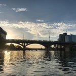 Kayaking to the bridge.
