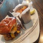 Sheboygan burger with cheese curds