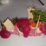 Salmon Tartar on a bed of rusian salad