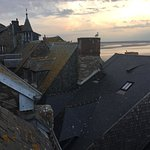 View from our bathroom at La Vieille Auberge on Mont Saint-Michel