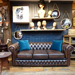 We stock a great range of quality leather Chesterfield sofas, chairs and foot stools.