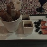 Churros, delicious. Served with chocolate sauce and caramel sauce!