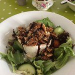Goats cheese,honey and walnut salad with home made cheese scone.