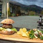 Aberdeen Angus beef burger, with pear, Stilton and walnut salad.