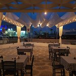 Romantic outdoor seating nighttime