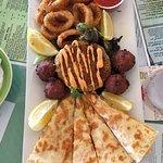 Mahi Quesadilla, Crab Cake, Conch Fritters, and Calamari