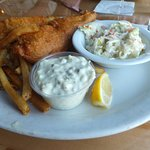 Our Fish and Chips with Coleslaw