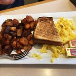 Hash Bar (steak) with 2 eggs, toast, and home fries - Burnt steak and potatoes :(