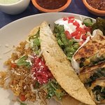 Lunch taco and chicken quesadilla plate $14 (added spinach, no charge)