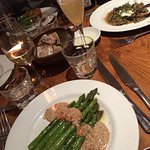 Asparagus with pine nut tarator