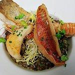 Risotto de lentilles du Puy AOP terre et mer Langoustine, rougets, merlu et seiche sauvages