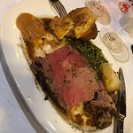 Roast Prime Rib of Beef, perfectly cooked.