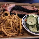 Brisket (double portion and pulled pork, with onion strings and cucumber salad