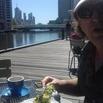 Brunch in the Sun after a 3 hour walk around Harbour and Docklands
