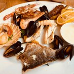 Seafood Grill: salmon, king scallop, mussels, bream, king prawn, squid, heritage potatoes