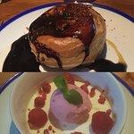 Giant profiterole, honeycomb, salted caramel, chocolate sauce and Buttermilk pannacotta,