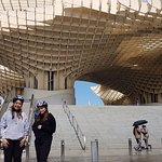 "This photo is outside ""The mushroom"" also known as the ""Metropol Parasol"""