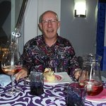 Phil enjoying his vol au vents and his champagne sangris