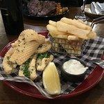Salt & pepper squid with steakhouse chips, fresh lemon & tartare sauce