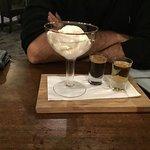 Affogato espresso shot, served with vanilla Golden North ice cream and shot of Frangelico,