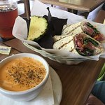 R n' B roast beef club wrap and lobster bisque