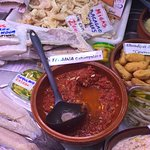 Tasty local dish at the Mercado del Cabanyal - made with tomatoes, tuna, pine nuts and spices