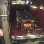 One of the hearses on display