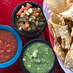 Homemade salsa, pico de gallo and tomatillo sauce