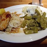 Grilled Salmon with Bourbon glaze - mashed potato- green beans Grilled Salmon Lunch:$9.29Dinner:
