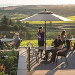 The expansive patio at Willamette Valley Vineyards in Turner, Oregon, has wonderful views.