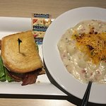 lunch combo potato soup and 1/2 smoked turkey sandwich