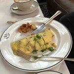 Great omelette at breakfast, freshly baked!