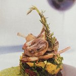 RACK OF LAMB WITH CRUSHED OLIVE & TOMATO POTATOES
