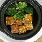 Pork Belly slowly braised in dark ale & caramel for hours w broccoli