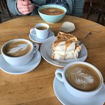 Lobster soup, pastry and coffees