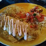 Seafood fettuccine, with crab ,scallops, and shrimp @ crab enchiladas !!!