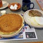 Inexpensive HUGE breakfast, one of the best pancakes around