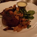petit filet with roast garlic and mushrooms